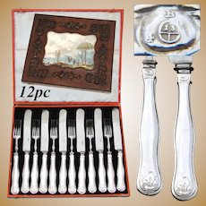 Elegant Antique Austrian Sterling Silver 12pc Dessert Knife & Fork Set, Fabulous Original Box
