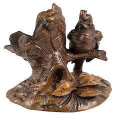 Fine Antique HC Black Forest Animalier Carving, Sparrow, Pipe or Cigar Holder, Stand