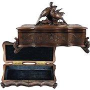 Fine Antique HC Black Forest Glove or Document, Jewelry Box, Casket, Pheasants, Lock w Key