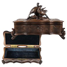 Fine Antique HC Black Forest Glove or Document, Jewelry Box, Casket, Pheasants, Lock w Key