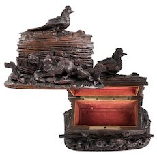 Superb Antique HC Black Forest Jewelry Box, Casket, 19th c. Animalier era, Fox and Bird