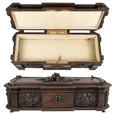 "Antique ""Maison Boissier"" Signature Chocolates, Chocolatier's Presentation Box, Carved Wood, 19th C."