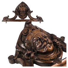 Antique HC Black Forest or French Figural Corbel, Mount for Mirror Top or Door