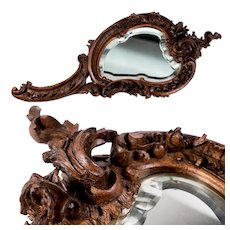 "Antique Hand Carved Black Forest 13.75"" Hand Mirror Frame, French Acanthus"