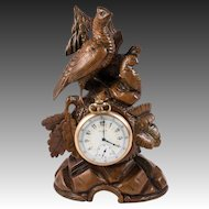 Antique HC Black Forest Pocket Watch Holder, Stand, Animalier Era Game Hen and 2 Chicks