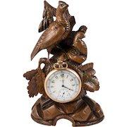 Antique HC Black Forest Pocket Watch Holder, Stand, Animalier Era Game Hen and 2 Chicks