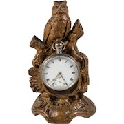 Antique HC Black Forest Animalier Carving, Owl is Pocket Watch Holder, Stand