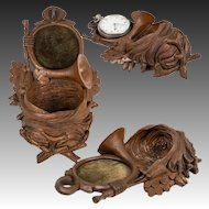 """Antique HC Black Forest Wall Pocket for Watch, Chain, 7"""" Tall, Hunt Theme, Acorns"""