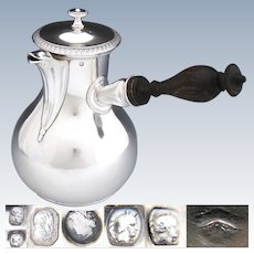 Antique French Sterling Silver Chocolate Pot, Warm Milk Verseuse or Hot Water Pot, 1819-1838 Marks