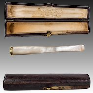 Antique French 14k & Mother of Pearl Cigar, Cheroot, Cigarette Holder & Etui.