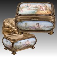 RARE Exceptional Antique French Kiln-fired Enamel Jewelry Box, Casket, Figural, Excellent!