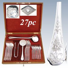 """Gorgeous Antique French Sterling Silver 27pc Flatware Set, Intricate Floral Pattern, """"CP"""" Monograms"""