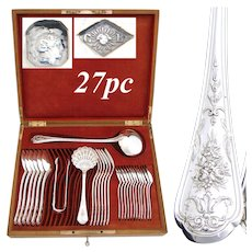 "Gorgeous Antique French Sterling Silver 27pc Flatware Set, Intricate Floral Pattern, ""CP"" Monograms"