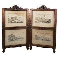"Antique French Victorian Era Carved Walnut 18"" Doll Sized Miniature Dressing Screen, Picture Frame, Intaglio Prints"