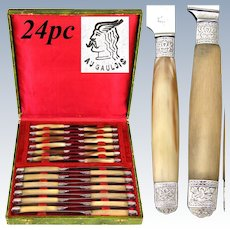 Antique French Empire Style 24pc Dinner Knife Set, Genuine Horn & Silver Handles: Crossed Torch & Quiver