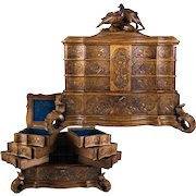 """Superb 14"""" Wide HC Black Forest Jewelry Box, Casket, 4 Layers, Drawers, Birds, VGC"""
