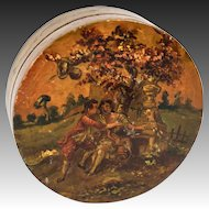 RARE c.1700s Vernis Martin Table Snuff Box, Marie-Antoinette Era, Romantic Paintings