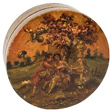RARE c.1700s Vernis Martin Table Snuff Box, Marie-Antoinette Era, Romantic Paintings