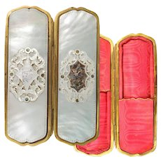 Antique French Cigar or Spectacles Case, Mother of Pearl, C.1850-70, Napoleon III Era, Victorian