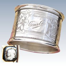 "Antique French Sterling Silver Napkin Ring, Guilloche Style Decoration, ""Paule"" Inscription"