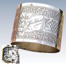 "Antique French Sterling Silver Napkin Ring, Ornate Guilloche Style Decoration, ""Jean Claude"" Inscription"