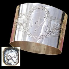 """Antique French Sterling Silver Napkin Ring, Classical Laurel Decoration, """"Jacques"""" Inscription"""