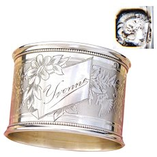 "Antique French Sterling Silver Napkin Ring, Ornate Guilloche Style Decoration, ""Yvonne"" Inscription"