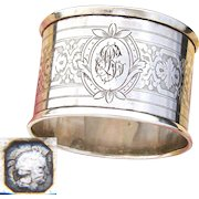 "Antique French Sterling Silver Napkin Ring, Guilloche Style Decoration, ""AB"" Monogram"
