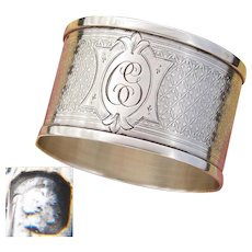 "Antique French Sterling Silver Napkin Ring, Guilloche Style Decoration, ""CG"" Monogram"