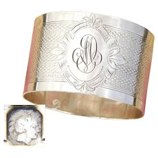 """Antique French Sterling Silver Napkin Ring, Guilloche Style Decoration, """"MD"""" Monogram"""