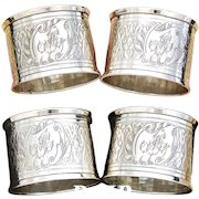 "PAIR (2): Antique French Sterling Silver Napkin Ring, Guilloche Style Decoration, ""His & Her"" Monograms"