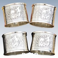 """PAIR (2): Antique French Sterling Silver Napkin Ring, Guilloche Style Decoration, """"His & Her"""" Monograms"""