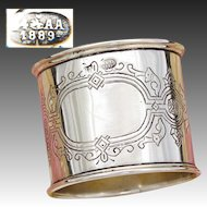 Antique Russian Hallmarked .800 (nearly sterling) Silver Napkin Ring, 1889 Date Mark