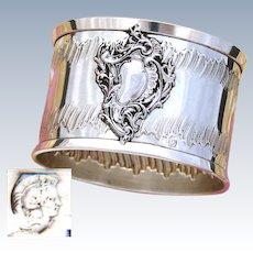 Antique French .800 Silver Napkin Ring, Ornate Rococo Style Decoration, Raised Medallion sans Monogram