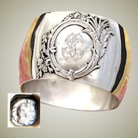 Antique French Sterling Silver Napkin Ring, Unique Rounded Shaping, Raised Medallion with GC Monogram