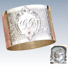 "Antique French Sterling Silver Napkin Ring, Classical Guilloche Style Decoration, ""GR"" Monogram"