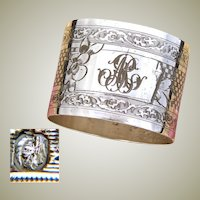 "Antique French Sterling Silver Napkin Ring, Guilloche Style Decoration, ""MR"" Monogram"