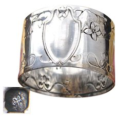 Antique French Sterling Silver Napkin Ring, Ornate Art Nouveau Style Floral Pattern, No Monogram