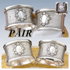 PAIR Antique French Sterling Silver Napkin Rings, Elegant Pattern with Raised Oval Medallion, No Monograms