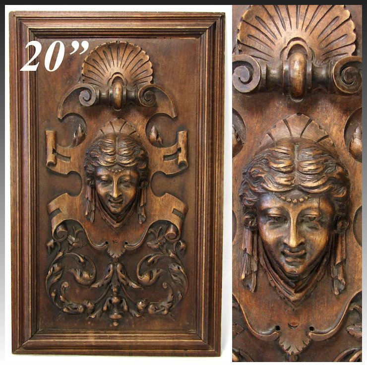 Antique Victorian Carved Wood 20 5 Furniture Or Cabinet Panel Plaque Figural Bust