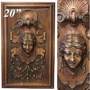 "Antique Victorian Carved Wood 20.5"" Furniture or Cabinet Panel, Plaque, Figural Bust"