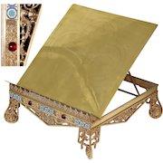 "Antique Napoleon III 14"" Bible or Missal Stand, Jeweled, Champleve Enamel & Mascaron Figures"