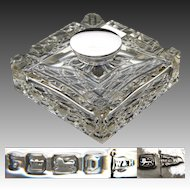 "Antique 1906 English Brilliant Cut Crystal & Sterling Silver 4"" Inkwell, Facet Cut Base"