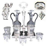 RARE Antique French Oil & Vinegar Cruet Stand & 4pc Open Salt Set, Figural Tambourine Dancer, Lions, 1798-1809 Hallmarks