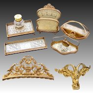 Lovely Vintage French Empire Style 5pc Desk Set, Inkwell & Stationery Stand, Lace & Gilt Ormolu