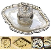 """Exceptional & Rare Antique French Sterling Silver 6"""" Inkwell, Vermeil, Aesthetic Style"""