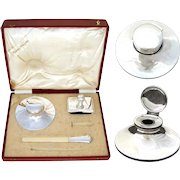 """Antique Italian Hallmarked .800 (nearly sterling) Silver 3pc Writer's Set, 6"""" Inkwell in Orig. 14.5"""" Box"""