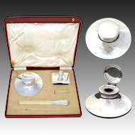 "Antique Italian Hallmarked .800 (nearly sterling) Silver 3pc Writer's Set, 6"" Inkwell in Orig. 14.5"" Box"