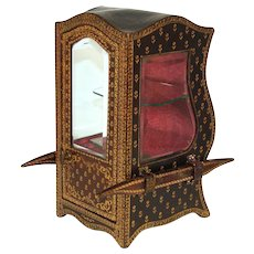 "Antique French 10"" Gold Embossed Leather Covered Miniature Sedan Chair, Display Vitrine, Box"