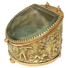 Antique French Napoleon III Era Pocket Watch Display Casket, Box: Hunt Theme with Hunters, Hounds & Deer